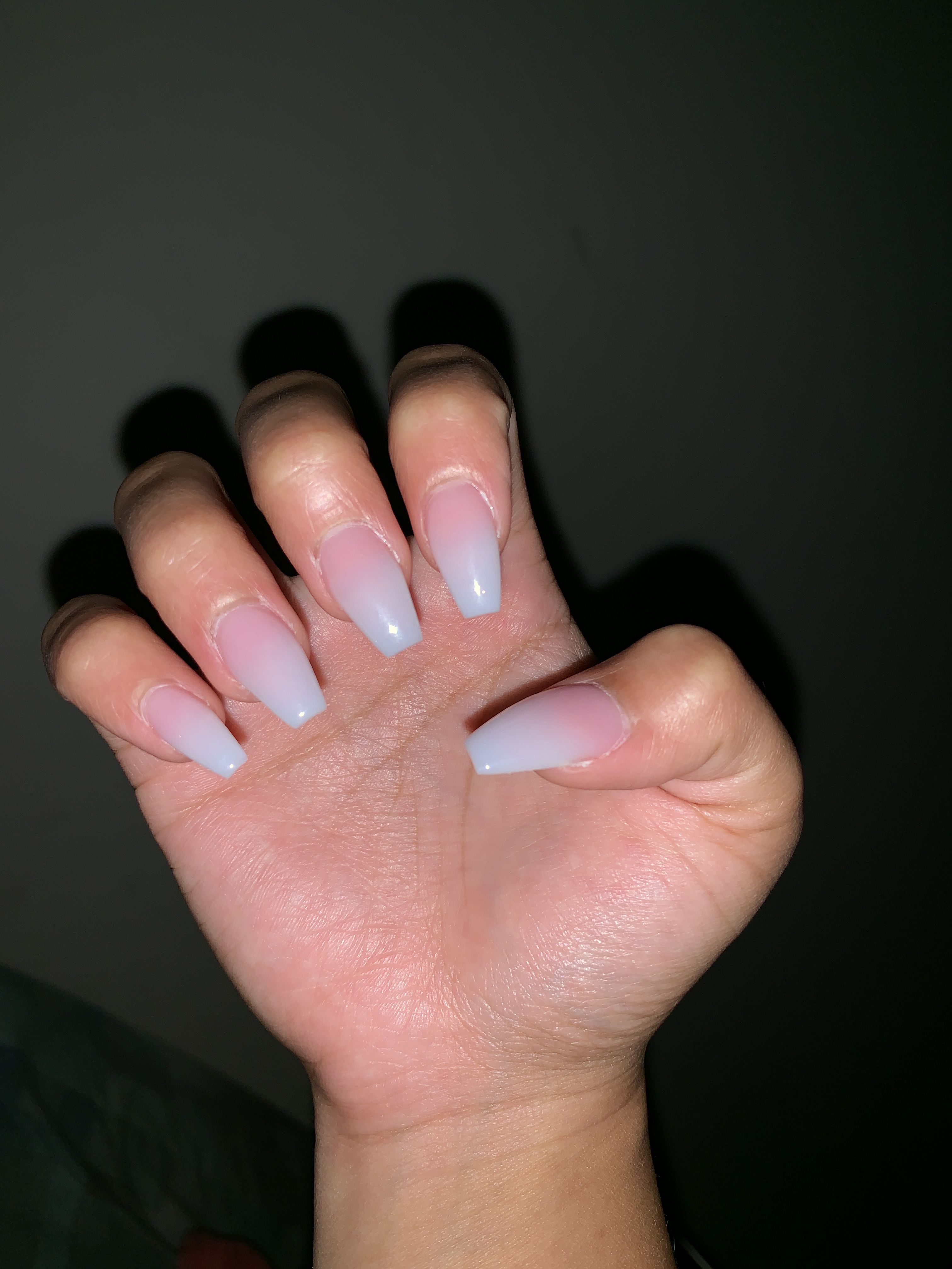 Short Acrylic French Ombre Coffin Nails That Are 40 Nails Coffin Nails Short Acrylics