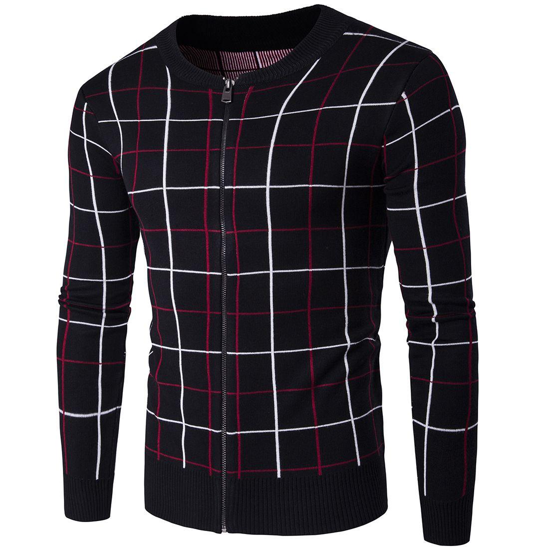 Men's Winter Sweater Slim Fit Men's Sweater Zipper Fashion ...