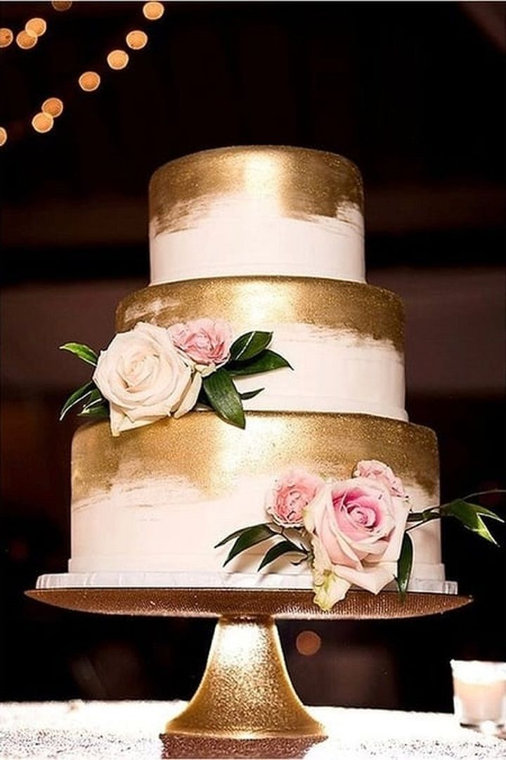 3 Tier Gold Wedding Cake With Blush Flowers Wedding Cake