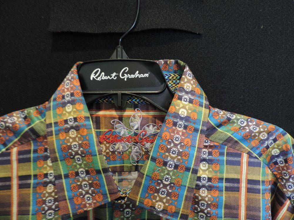Robert Graham Designer Rg1025 Mosaic Striped Shirt Cool Flip Cuff 3xl Nwt Colorful Shirts Striped Shirt Shirts