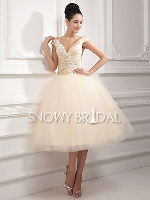 Outdoor A-Line Cap Sleeve Puffy Taffeta Tea Length bridal gown - US$ 104.99 - Style W1807 - Snowy Bridal