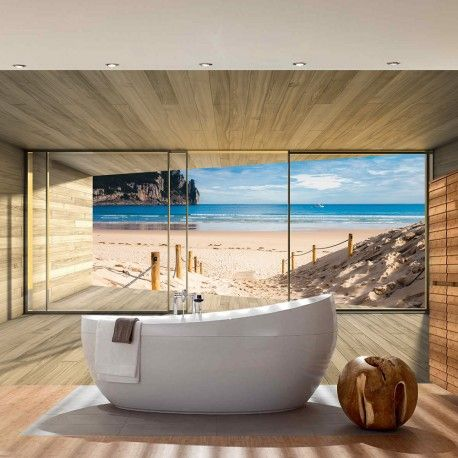 vlies fototapete no 2538 holz tapete holzoptik rahmen fenster meer strand himmel beige. Black Bedroom Furniture Sets. Home Design Ideas