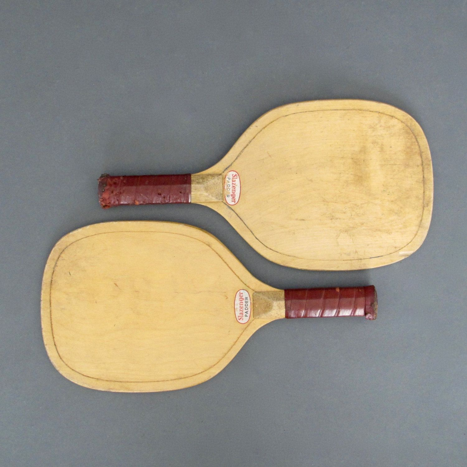 Wooden Paddle Ball Game Vintage Pair of Slazenger Padder Bats from England Tennis Racket 38
