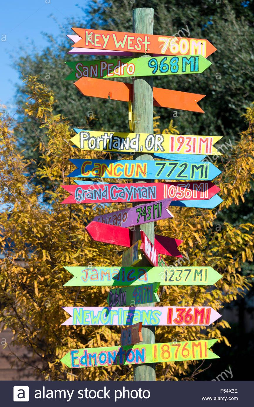 bright color jokey fun direction signpost with distances for far