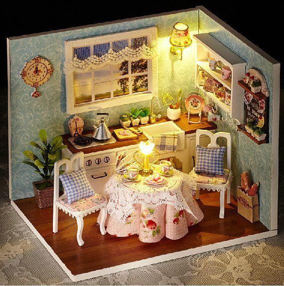 Miniature Scene Bois Miniature Puzzle Jouet Bricolage Poupee Maison Meubles DIY