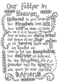 Creative Children S Ministry Prayers To Colour In The Lords Prayer Prayers For Children Prayer Stations