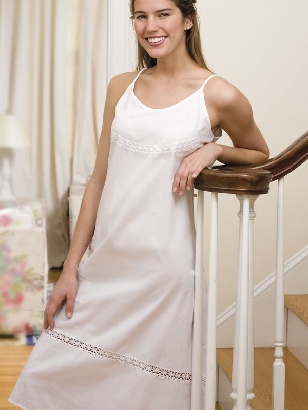 Kerry - Ladies  Cotton Nightgown. White Spaghetti Straps with White French  Lace. Sizes  S 8896485d8