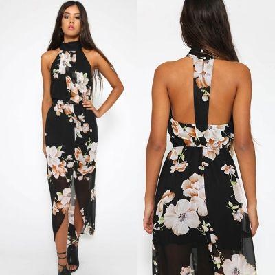 Womens Halter Neck Sleeveless Floral Printed Slit Maxi Dress Roawe Com