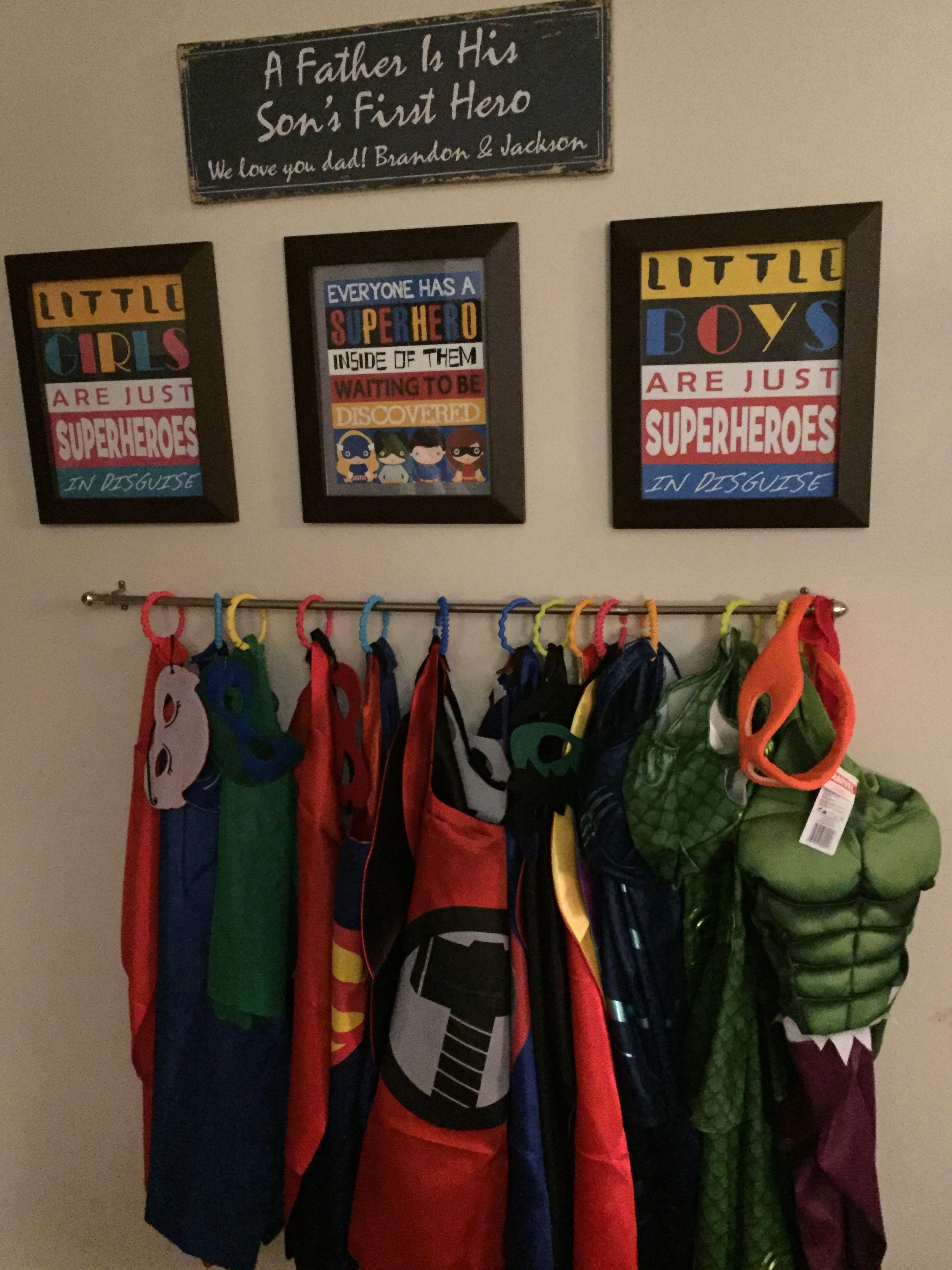 Super Hero Wall Costume Storage