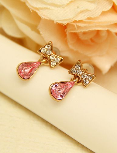 Red Drop Gemstone Gold Diamond Bow Earrings US$5 67