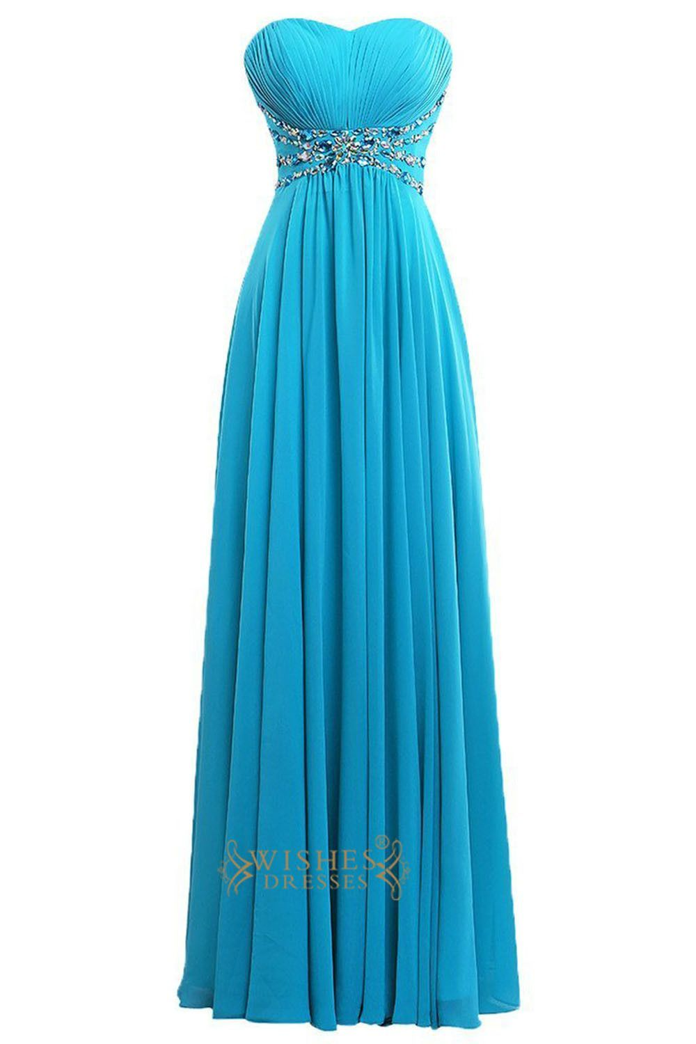 A line ocean blue beaded details chiffon long prom dresses for Ocean blue wedding dress