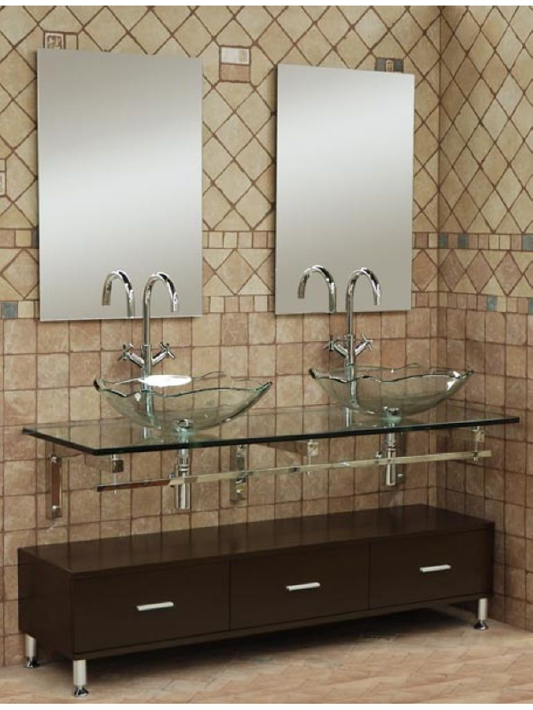 Bathroom    Fancy Double Oval Clear Glass Vessel Sinks Bathroom Ideas On  Rectangular Suspended Glass And Frameless Mirror On The Diagonal Tiles And. Mural of Small Bathroom Vanities With Vessel Sinks to Create Cool