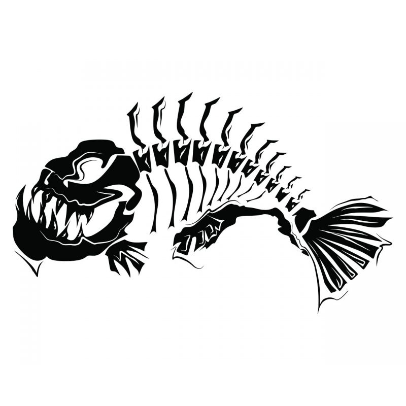 Fish skeleton modern art wall tattoo feature wall decal for Fishing vinyl decals