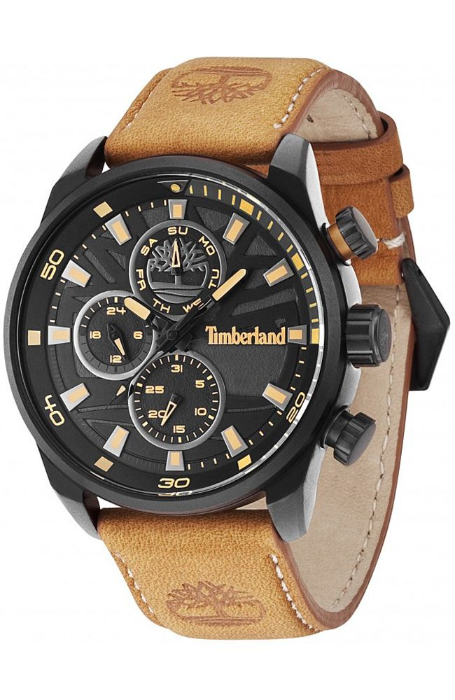 timberland men s henniker 2 brown leather strap watch 46x53mm timberland watches shop online e oro