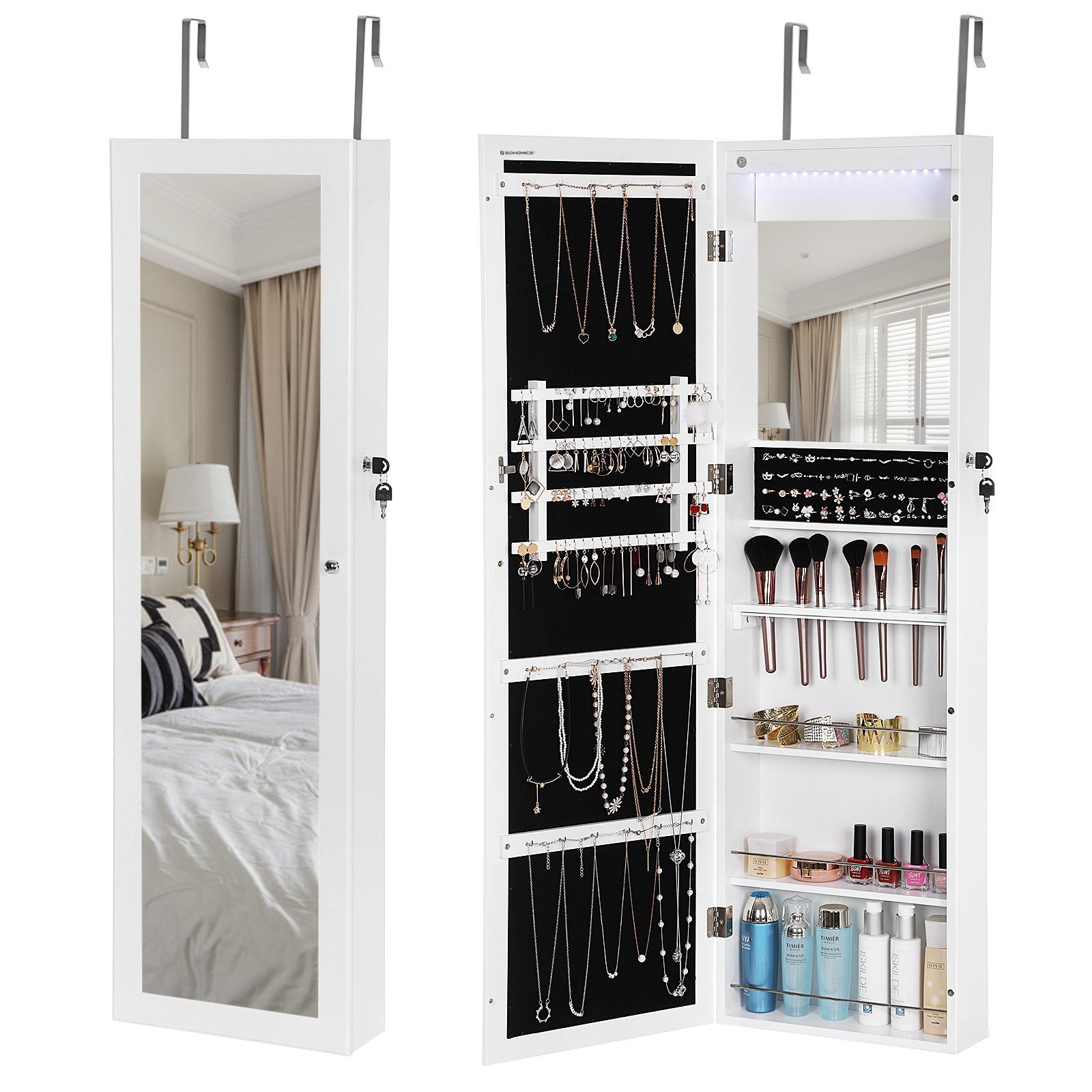 SONGMICS 18 LEDs Jewelry Cabinet Lockable Mirrored Wall Door Mounted
