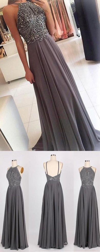 Grauer Chiffon Halfter Lange Abendkleider mit Perlen Homecoming Formal Dress für Mädchen, M270 #branddresses
