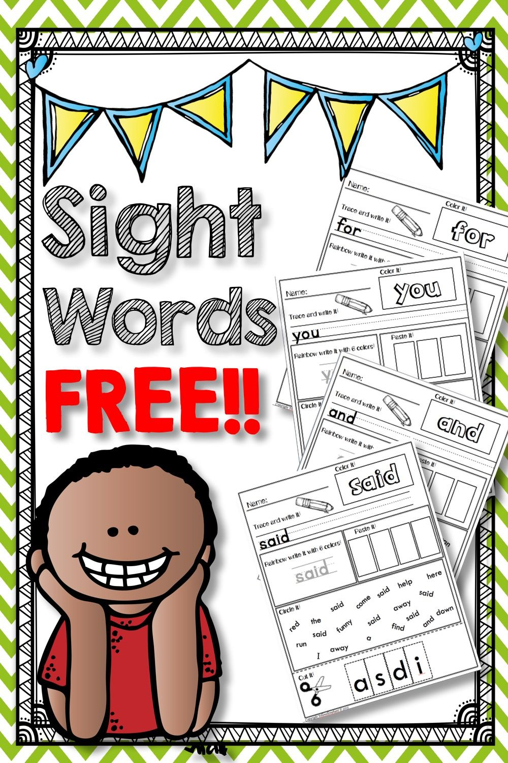 Sight Words Free Sight word worksheets, Pre primer sight