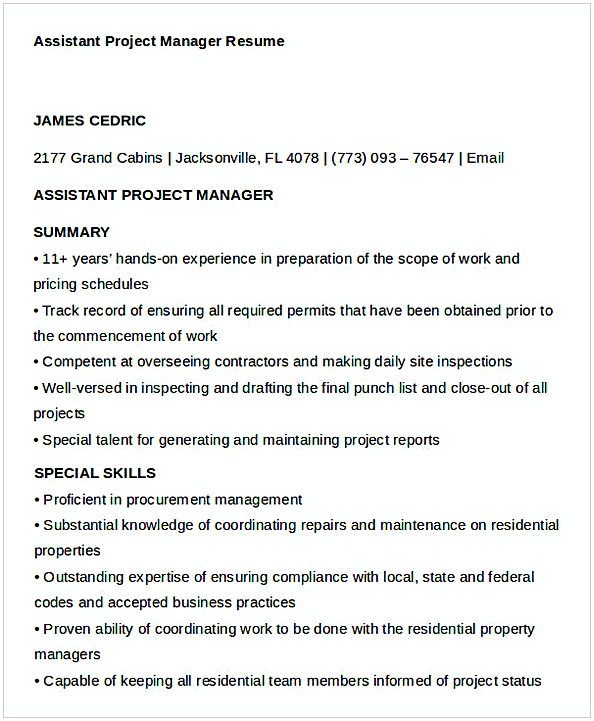 Assistant Project Manager Resume 1 , General Manager Resume , Find