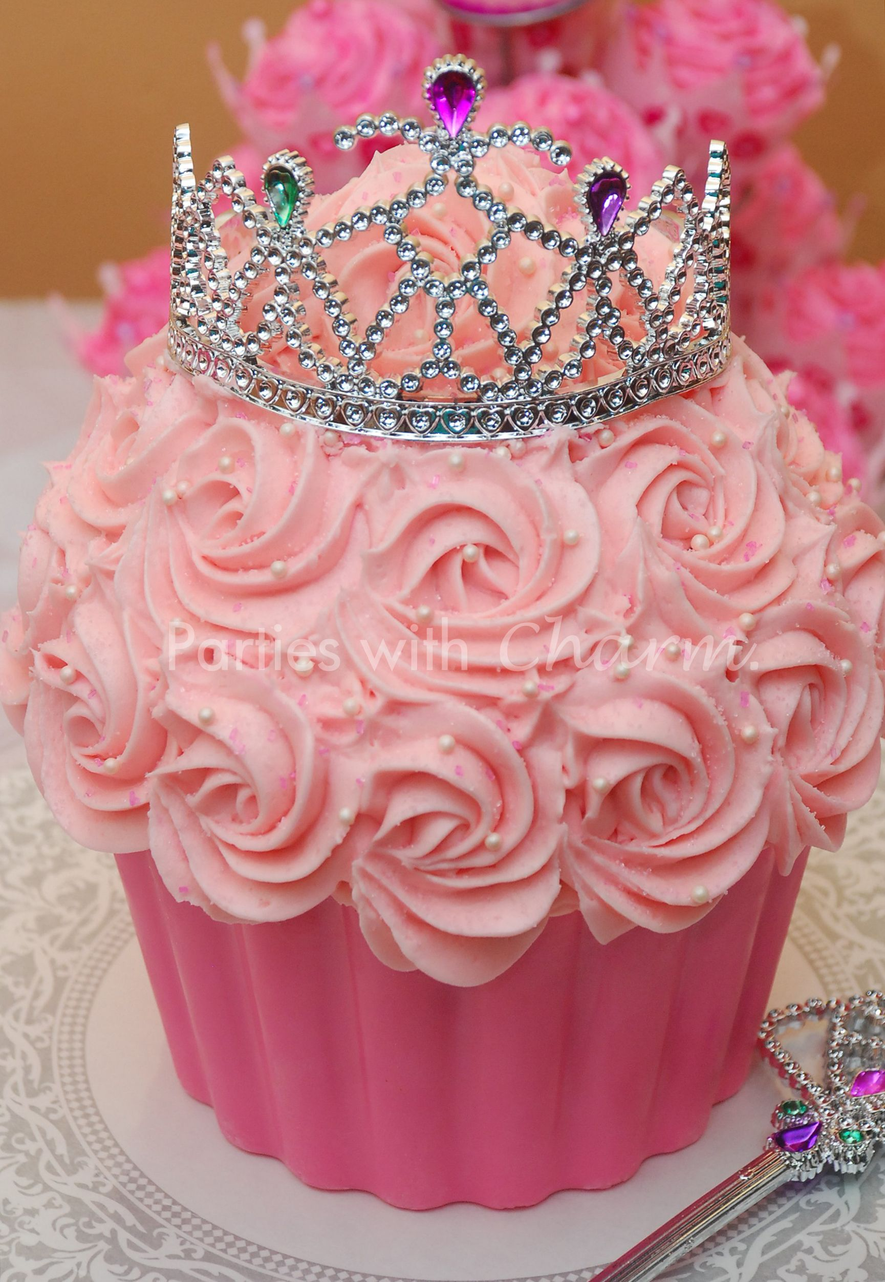 princess cupcake cake with tiara for princess baby shower or birthday