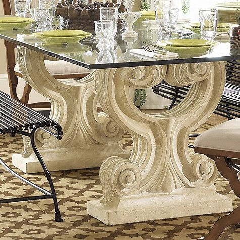 Twin Acanthus Base   Outdoor Dining Table (in Black)
