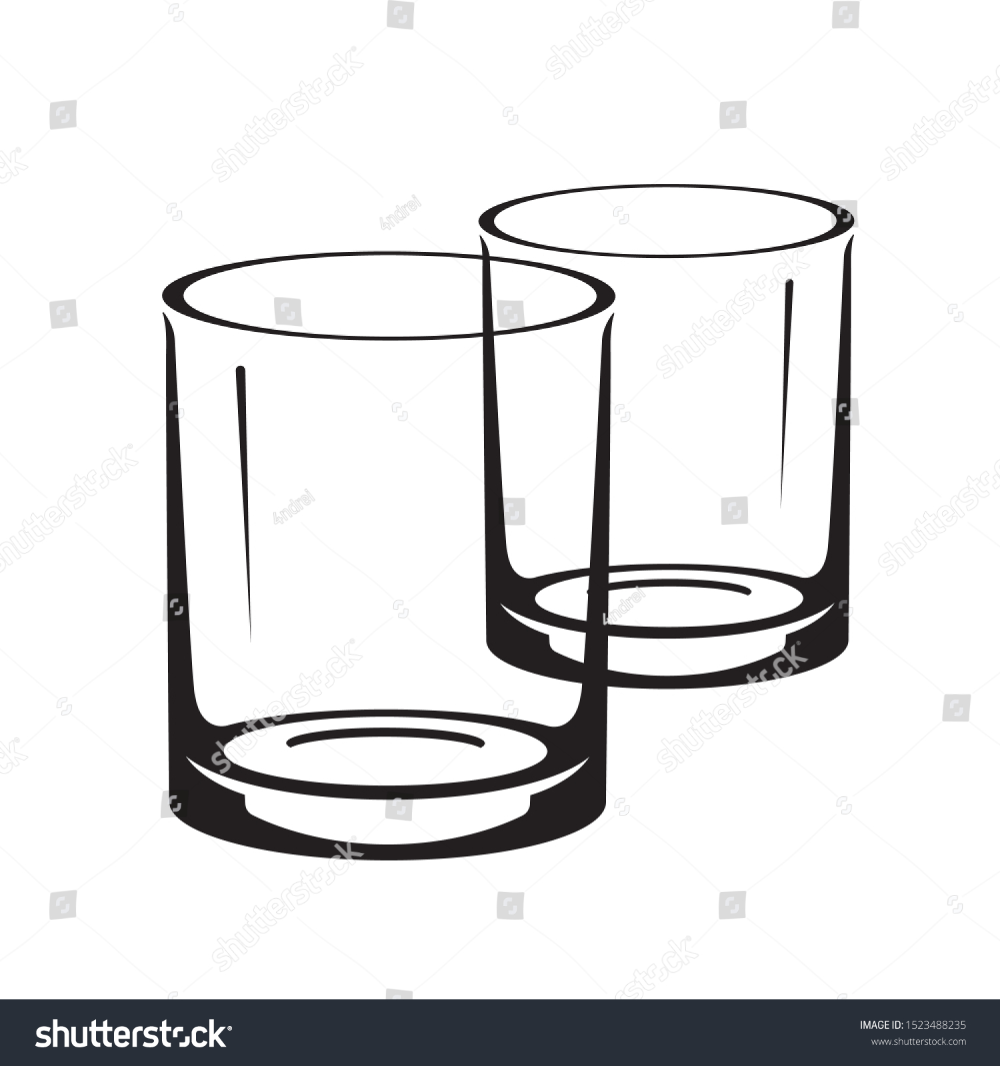 Glasses Whiskey Icons Vector Silhouettes Stock Vector Royalty Free 1523488235 Black And White Illustration Icon Whiskey