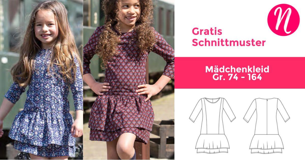 Mädchenkleid Scarlett - Freebook   Gratis schnittmuster, Ausdrucken ...