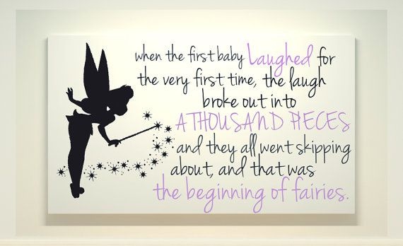 Tinkerbell Disney World Art Canvas Painting Fairies Quote