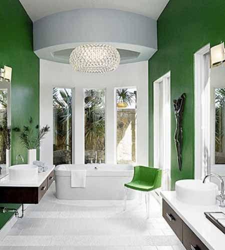 Green Border White Tiles Green Bathroom Green Bathroom Colors Green Home Decor