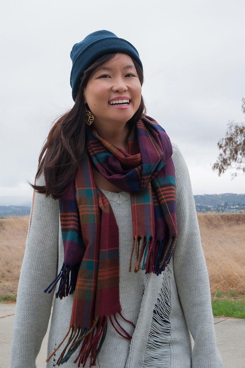 oversized sweater, plaid scarf, beanie, plaid scarves #fallfashion #petite #winter