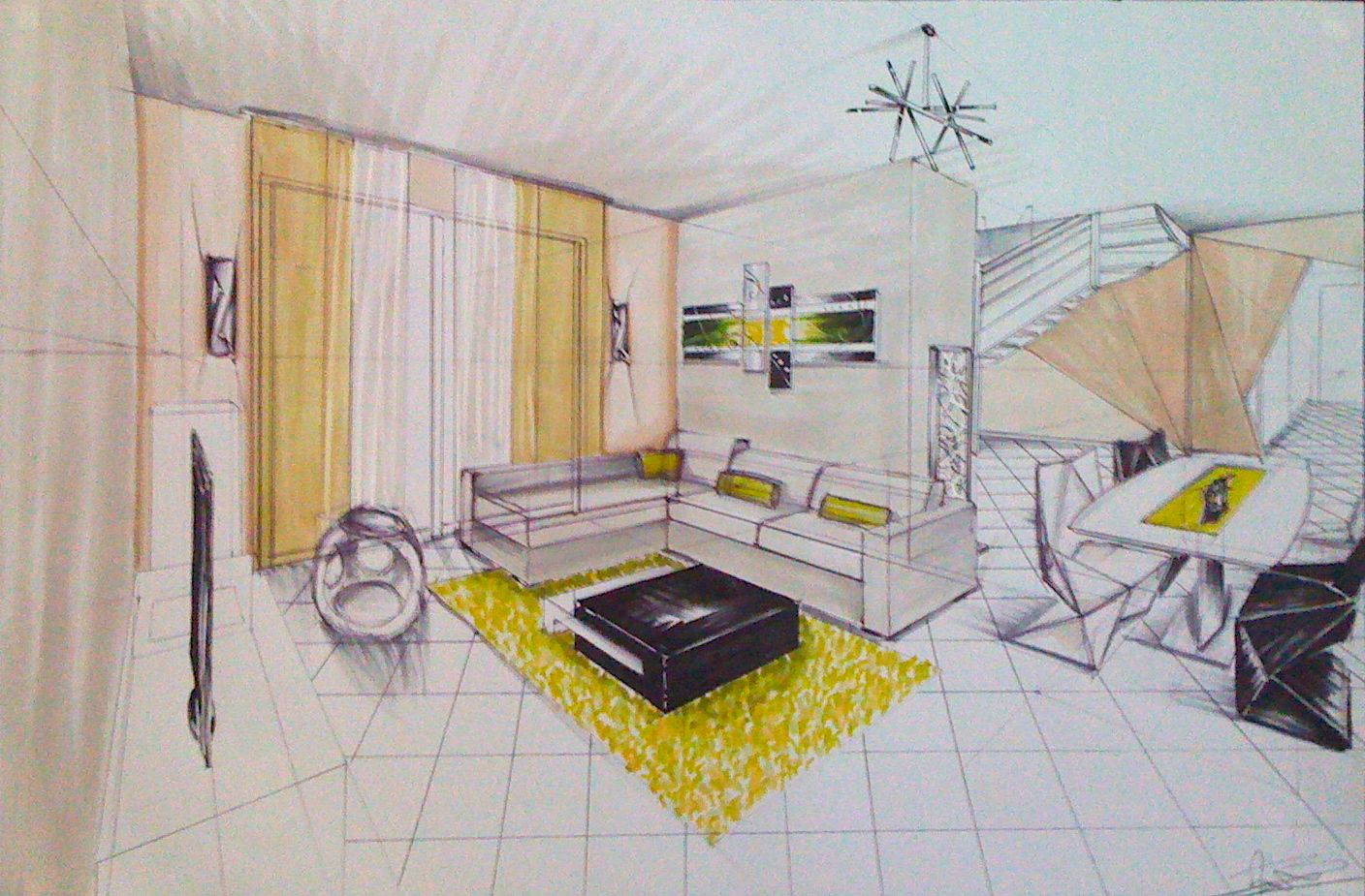 Dessins d 39 interieur de maisons en perspective anabelle for Dessin architecture interieur