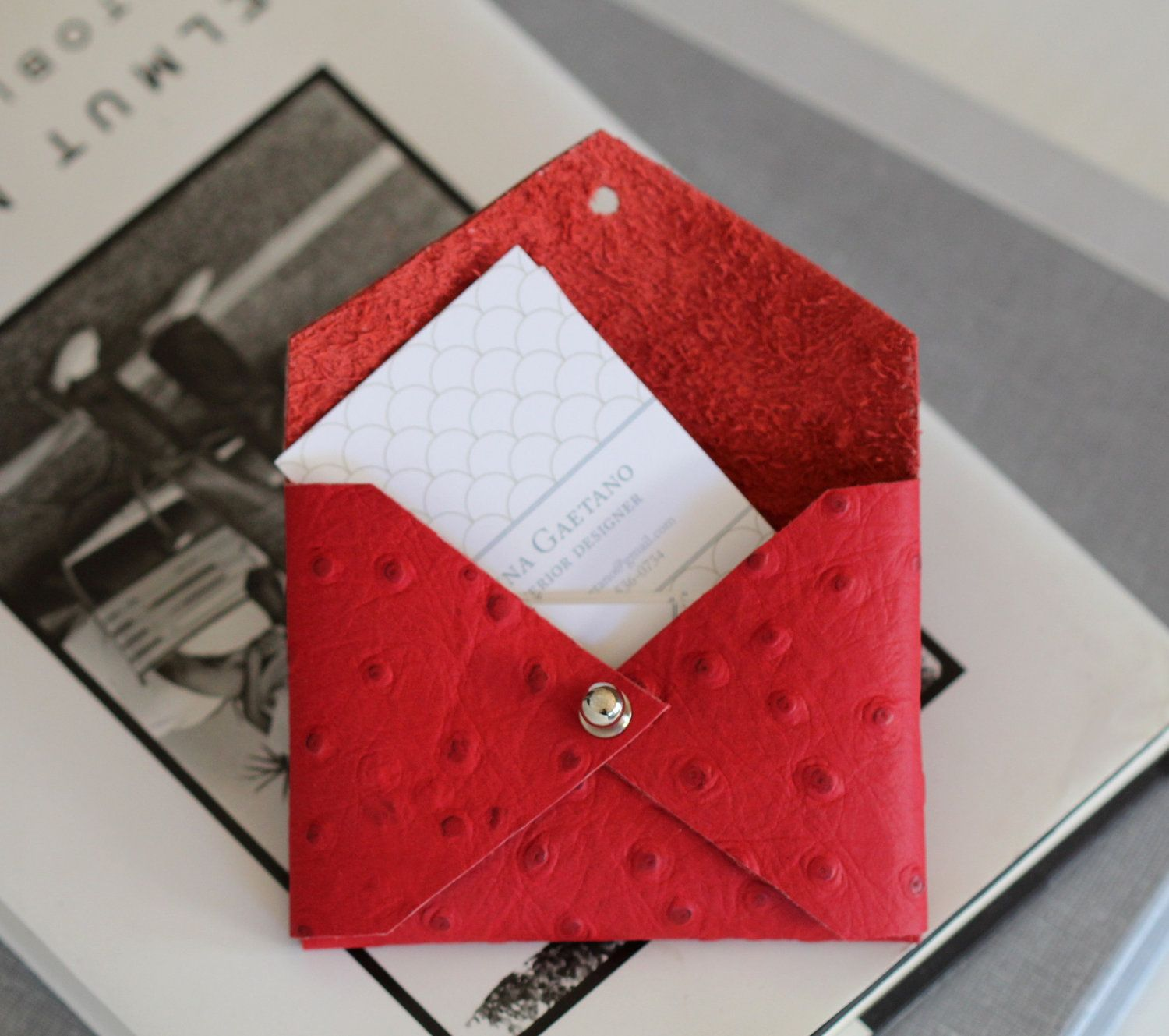 Bright red faux ostrich leather handmade business card holder bright red faux ostrich leather handmade business card holder envelope style case 3000 reheart