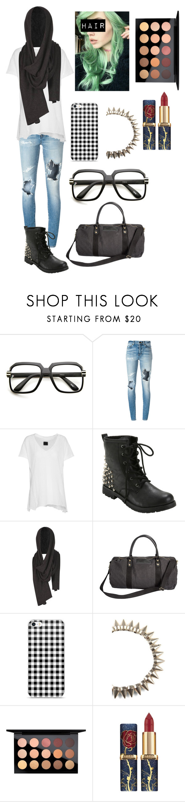 """""""Kassidy"""" by lord-nightshade on Polyvore featuring ZeroUV, Yves Saint Laurent, RtA, AllSaints, Cathy's Concepts, MAC Cosmetics, black and blackandwhite"""