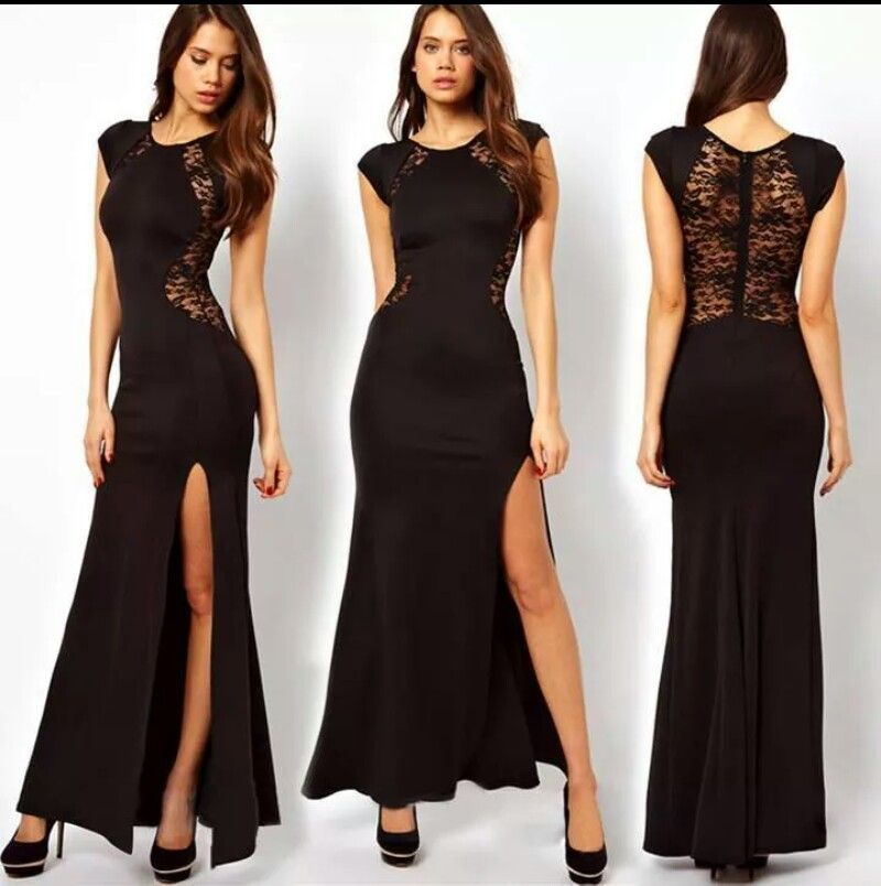 Black lace split dress