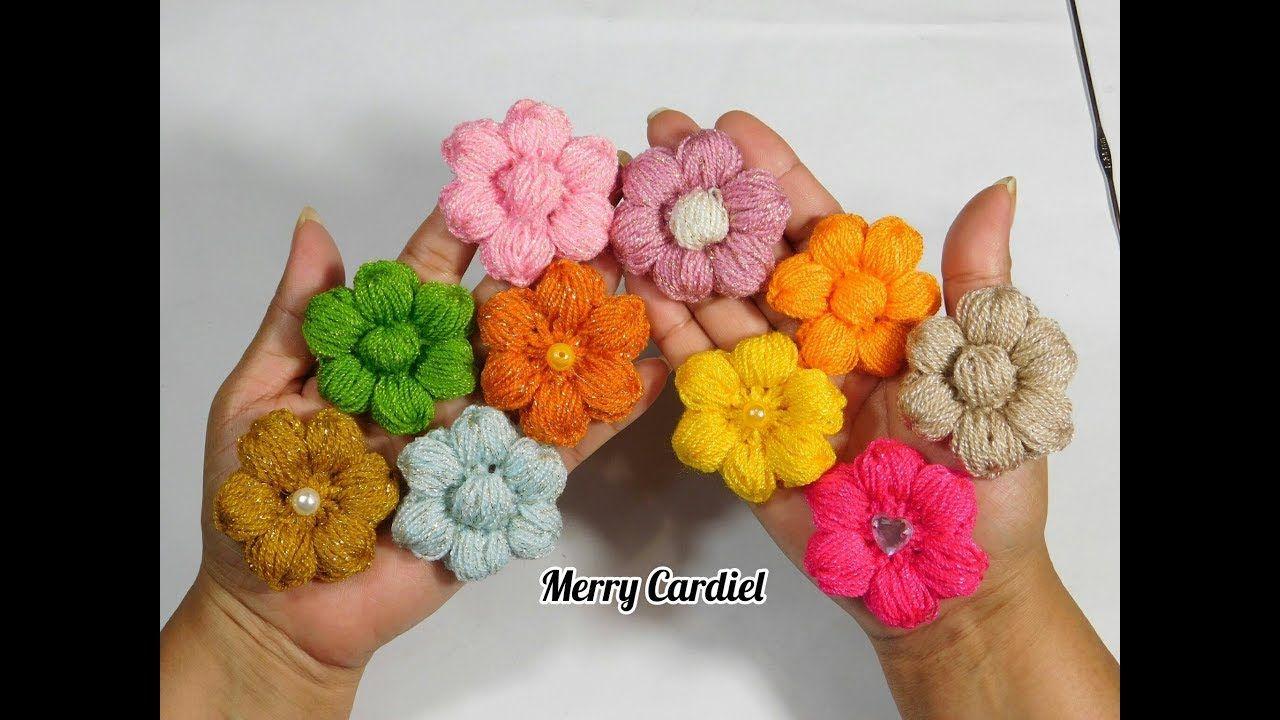 como tejer flores a crochet punto puff fácil | MERRY CARDIEL ...
