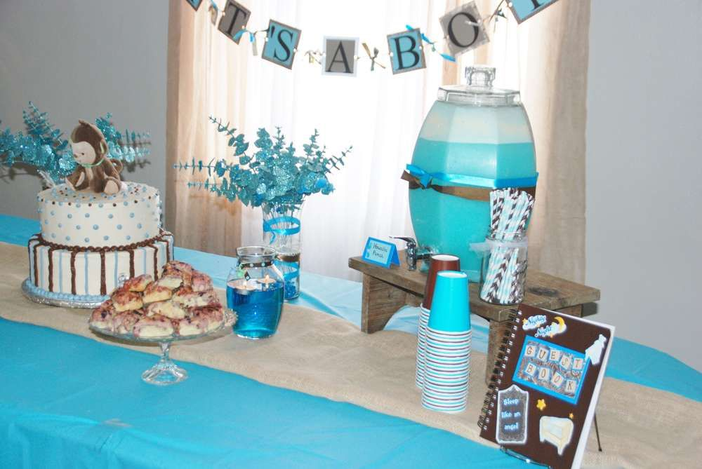 Blue and Brown Monkey Baby Shower | CatchMyParty.com