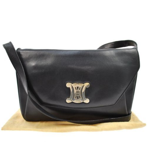 84649e4537d6 Authentic Celine Logos Shoulder Bag Black Gold Leather Italy Vintage  E06634A