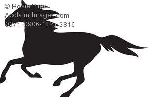 clip art illustration of a silhouette of a horse running horses rh za pinterest com  horse running gif clipart