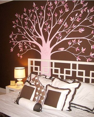 Pink And Brown Tree On Wall