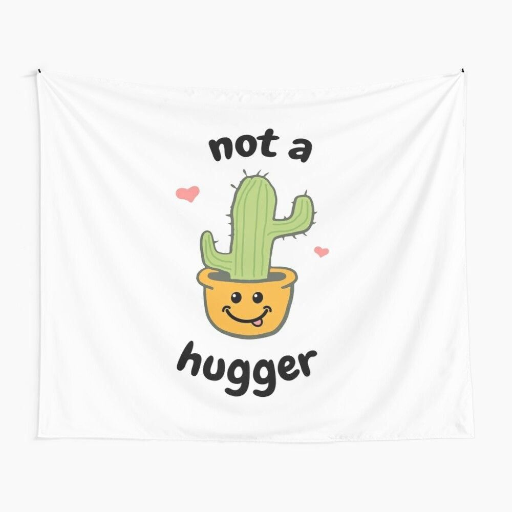 Not A Hugger Cactus Funny Quote Illustrations 1000 In 2020 Tapestry Illustration Funny Quotes