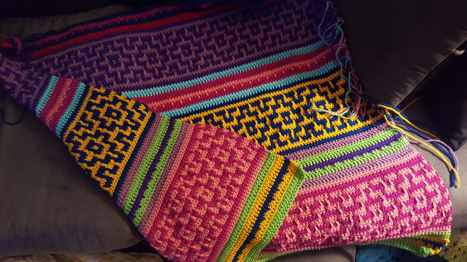 Nya Mosaic Blanket, free pattern from Lilla Bjorn. Crocheted here by ...