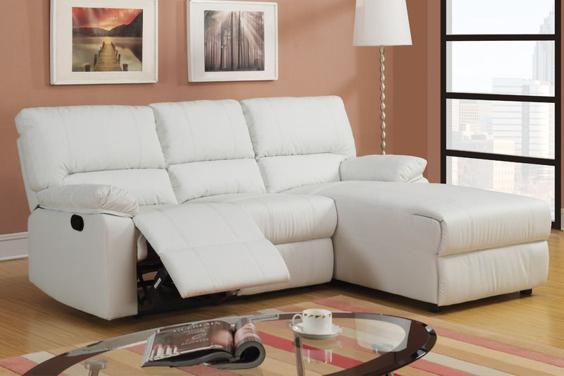 Small Cream Leather Reclining Sectional Sofa Set Recliner Right Chaise