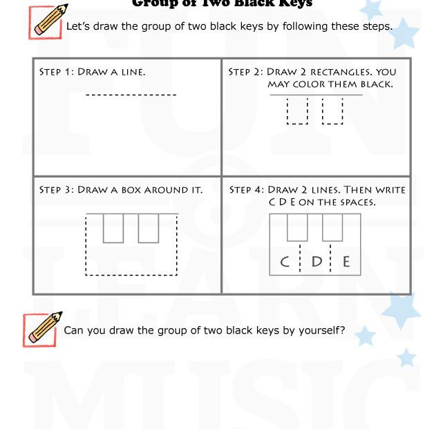 An Easy Worksheet For Learning How To Draw The Group Of 2 Black Keys