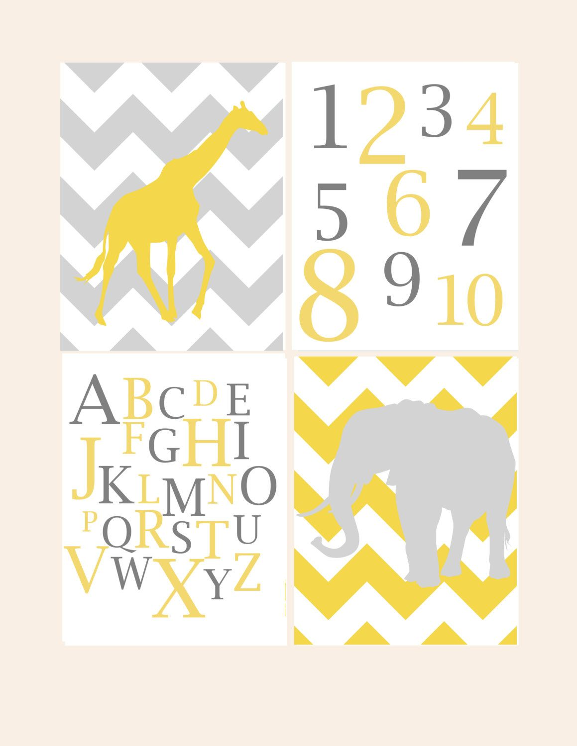 Nursery Wall Decor- Print for Kids- Giraffe Elephant Alphabet ...