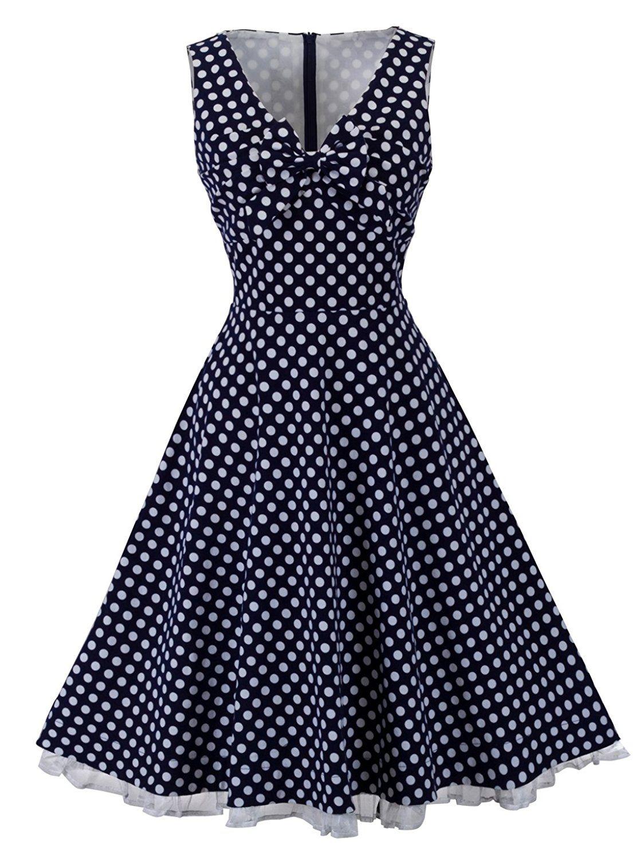 HOMEYEE Women\'s 1950s Vintage Voguish Sleeveless V-Neck Dot Swing ...