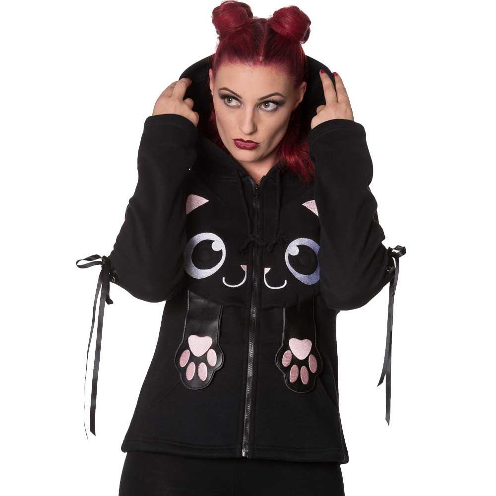 Banned little star katten vest met capuchon zwart emo gothic metal