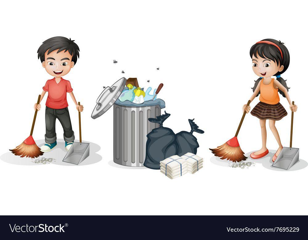 boy and girl sweeping the floor vector image on vectorstock sweep the floor apple logo wallpaper boy or girl boy and girl sweeping the floor vector