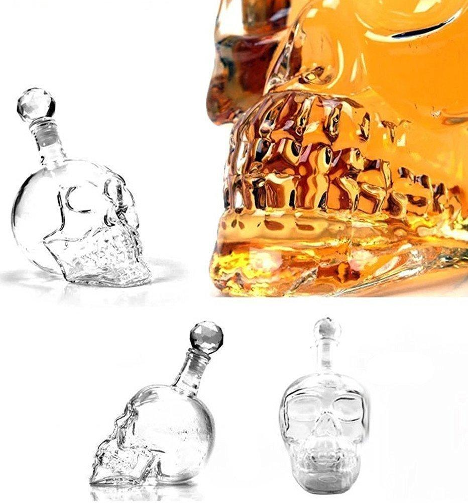 Details Glass Skull Face Decanter Bottling, Great for