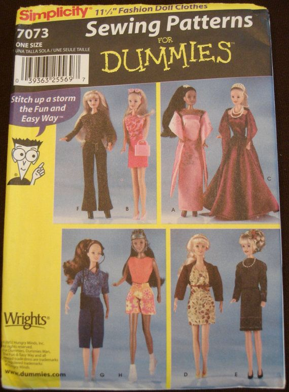Barbie Doll Clothes Sewing Pattern UNCUT Simplicity 7073 8 Outfits ...