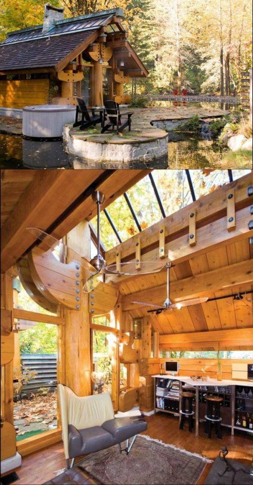 Totems log cabin unique design by henry yorke mann tiny houses pinterest house and homes also rh