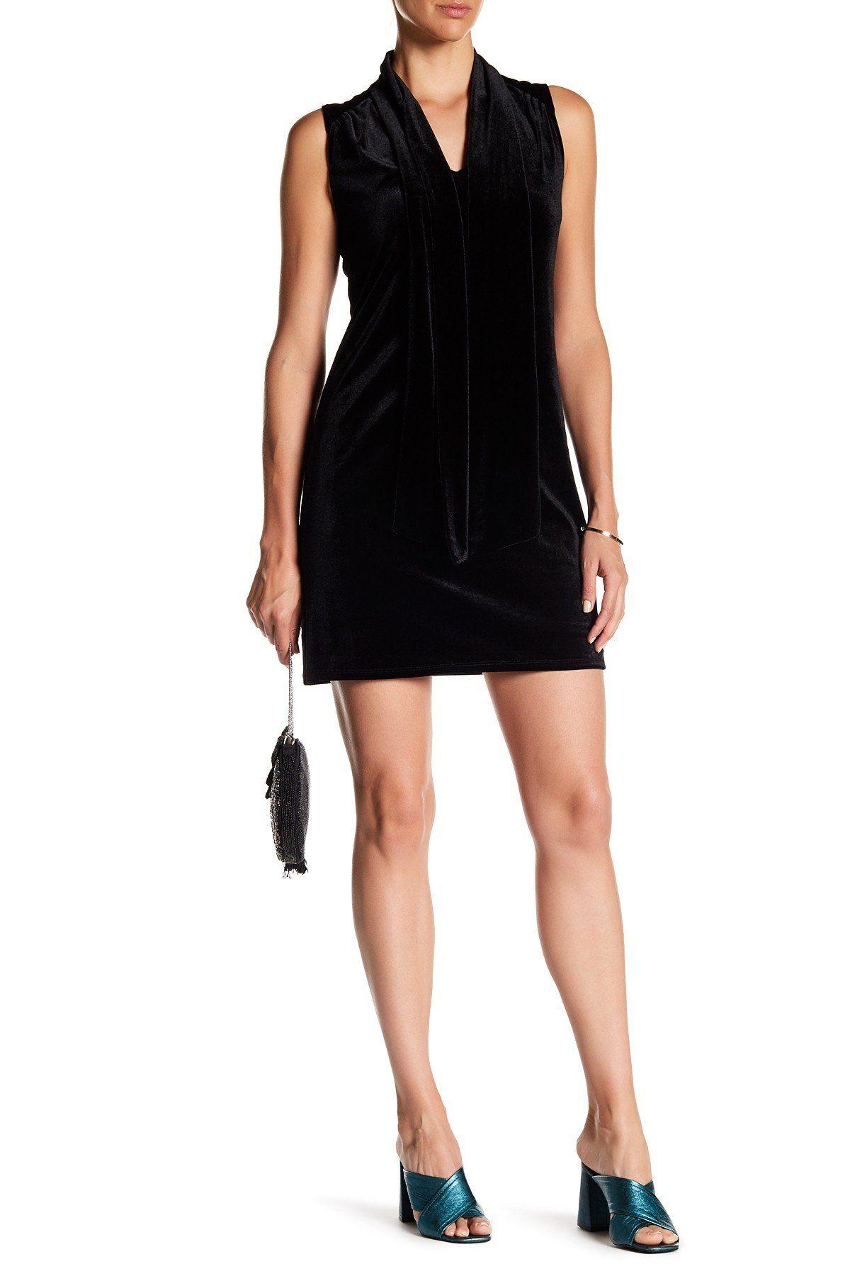 Tie neck velvet shift dress